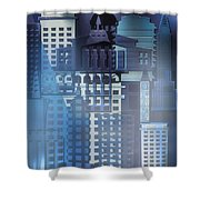 Downtown Abstract - Blue Mist Shower Curtain