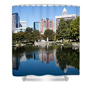 Downtown Charlotte North Carolina From Marshall Park Shower Curtain