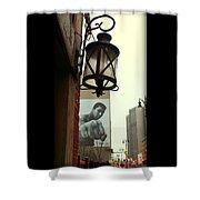 Downtown Detroit Light Fixture With Muhammad Ali Billboard Shower Curtain