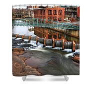 Downtown Greenville On The River Winter Shower Curtain