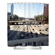 Downtown Los Angeles. 110 Freeway And Wilshire Bl Shower Curtain