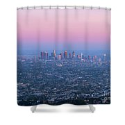 Downtown Los Angeles Skyline At Sunset Shower Curtain