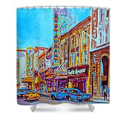Downtown Montreal Street Rue Ste Catherine Vintage City Street With Shops And Stores Carole Spandau  Shower Curtain