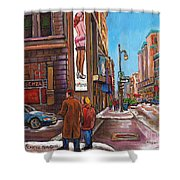 Downtown Montreal Streetscene At La Senza Shower Curtain
