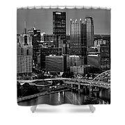 Downtown Pittsburgh At Twilight - Black And White Shower Curtain