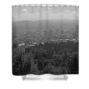 Downtown Portland Black And White Shower Curtain