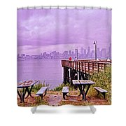 Downtown Seattle As Seen From Alki Beach Shower Curtain