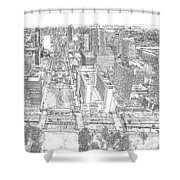 Downtown St. Louis Panorama Sketch Shower Curtain