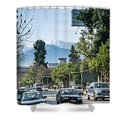 Downtown Street In Santiago De Chile City And Andes Mountains Shower Curtain