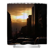 Downtown Sunset From Parking Lot Shower Curtain