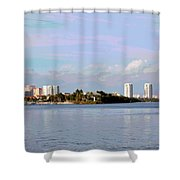 Downtown Tampa With Cruise Ship Shower Curtain