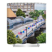 Downtown Waterloo Iowa Bridge Shower Curtain