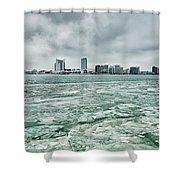 Downtown Windsor Canada City Skyline Across River In Spring Wint Shower Curtain