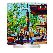 Downtowns Popping Shower Curtain