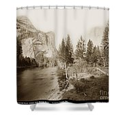 Domes And Royal Arches From Merced River Yosemite Valley Calif. Circa 1890 Shower Curtain