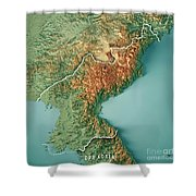 Dpr Korea 3d Render Topographic Map Border Shower Curtain