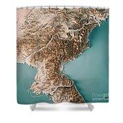 Dpr Korea 3d Render Topographic Map Neutral Border Shower Curtain