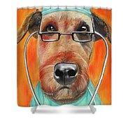 Dr. Dog Shower Curtain by Michelle Hayden-Marsan