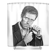 Dr. House  Hugh Laurie Shower Curtain