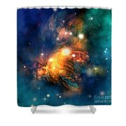 Draconian Nebula Shower Curtain by Corey Ford