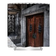 Dracula's Back Door Shower Curtain