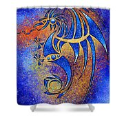 Dragissous V1 - Blue Dragon Shower Curtain