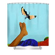 Dragon And Child's Feet Shower Curtain