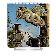 Dragon And Umbrella Sing In Barcelona Shower Curtain