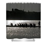 Dragon Boat Silhouette Shower Curtain by Stuart Turnbull