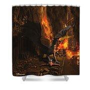 Dragon Flame Shower Curtain by Solomon Barroa