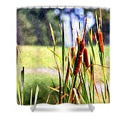 Dragon Fly And Cattails In Watercolor Shower Curtain