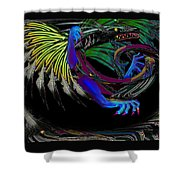 Dragon Flying Shower Curtain