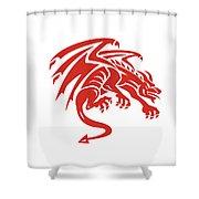 Dragon Gargoyle Crouching Silhouette Retro Shower Curtain