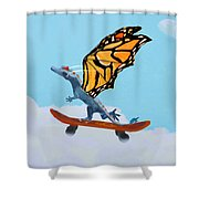 Dragon On Skateboard Shower Curtain