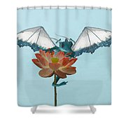 Dragon Peeks Around Flower Shower Curtain
