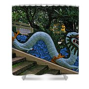Bao Tang Temple Railing In Ho Chi Minh City Shower Curtain