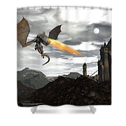 Dragon Scenery - 3d Render Shower Curtain