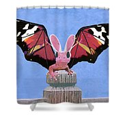 Dragon With Bunny Ears Shower Curtain