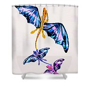 Dragon With Two Kids Shower Curtain