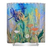 Dragonflies In Wild Garden Shower Curtain