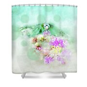 Dragonfly And Polka Dots Shower Curtain