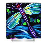 Dragonfly And Water Lily Shower Curtain