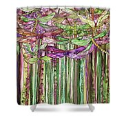 Dragonfly Bloomies 1 - Pink Shower Curtain
