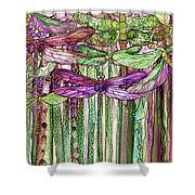 Dragonfly Bloomies 2 - Pink Shower Curtain