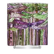 Dragonfly Bloomies 3 - Pink Shower Curtain