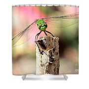 Dragonfly In The Petunias Shower Curtain