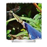 Dragonfly On Flag Shower Curtain