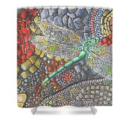 Dragonfly On Stone Path Shower Curtain