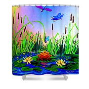 Dragonfly Pond Shower Curtain by Hanne Lore Koehler