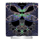 Dragonfly Queen At Midnight Fractal 161 Shower Curtain
